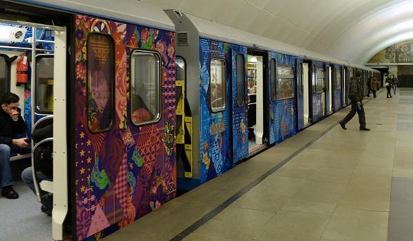 """В московското метро  се появи """"Олимпийски влак"""""""