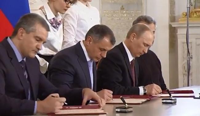Договорът за приемането в Русия на република Крим и Севастопол е подписан