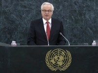 Churkin speaks to delegates during the plenary meeting of the General Assembly on the prevention of armed  conflict at the U.N. headquarters in New York