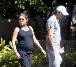 Pregnant Mila Kunis And Ashton Kutcher Visit With Her Parents