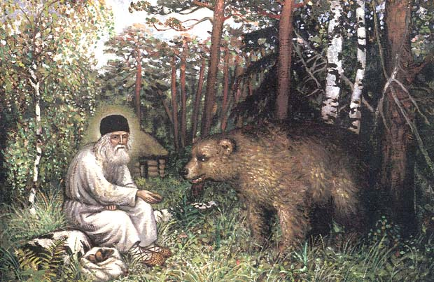 Св. Серафим храни мечката. Фрагмент от литографията Пътят към Саров, 1903