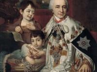 Портрет на  граф Григорий Григориевич Кушелев с децата. 1801г. Шапката е с украшение на  знаците на  ордена на св. Екатерина.
