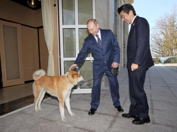 Путин и Юме по време на среща с японския премиер