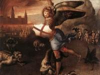 """Свети Архангел Михаил побеждава дявола"" Картина на Рафаело Санцио, 1518"