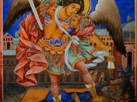 """Стенопис от Рилския манастир """"Св.Архангел Михаил взима душата на богатия"""""""