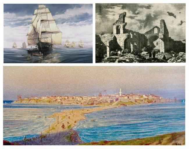 По време на турското робство християнските паметници в Несебър се превръщат в руини както се вижда от тази графика на френския пътешественик Сейже. След завземането на Несебър по суша и море през 1829 г. една част от артефактите с по-специално значение за православния свят са били пренесени в Русия, a през 1872 г. австро-унгарския пътешественик Феликс Каниц  изобразява града  с единствената джамия, която просъществува до 60-те години на ХХ век.