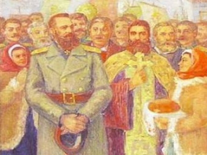 Рисунка на посрещането на отряда на полк. Лермонтов в Бургас