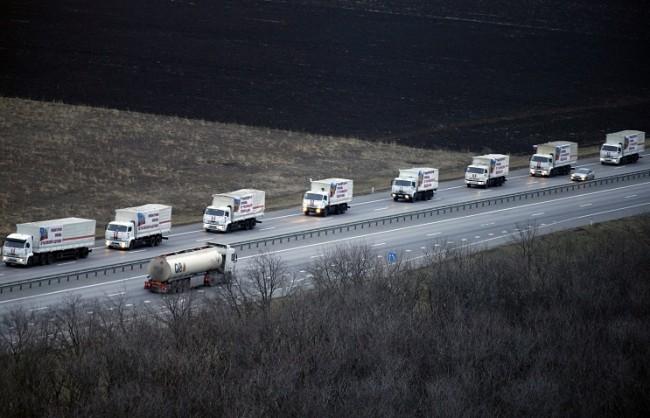 Автомобилите на  МИС на Русия доставиха хуманитарна помощ в Донецк и Луганск