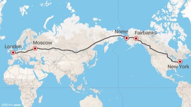 Евентуалният маршрут на магистралата, начертан от Си Ен Ен, показва, че дължината на пътя от Лондон до Ню Йорк през Москва е около 20 000 км.