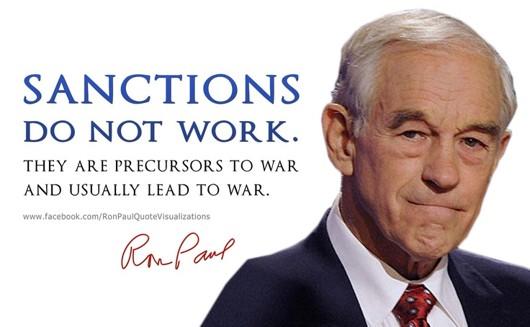 Рон Пол: Санкциите не работят. Те са предшественик на война и обикновено водят към война.