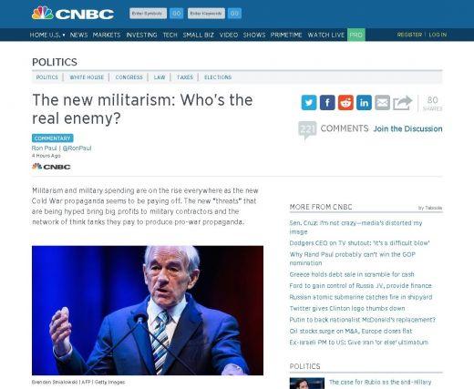 """Рон Пол: """"Руската заплаха"""" носи приходи на военната индустрия"""