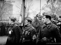 Посрещане на Първа българска армия, завърнала се от фронта - първа фаза Страцин, знаменосците в очакване на главнокомандващия, София, 1945 г.