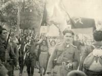 """Партизани в Горна Джумая (днес Благоевград), вероятно от отряд """"Никола Калъпчиев"""", 9 септември 1944 г."""