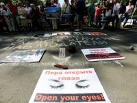 Жители на Донецк излязоха на протест с искания за обективност от ОССЕ
