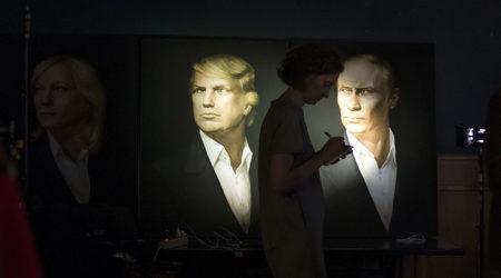 Картина на двамата президенти в московския пъб Union Jack.