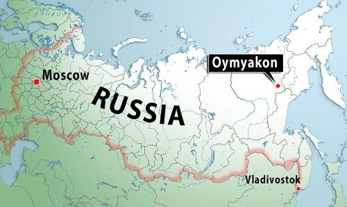 Оймякон се намира на 5330 км по права линия от Москва, което е с 2000 км повече, отколкото разстоянието между селището и Аляска