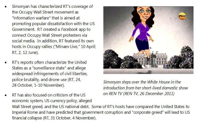 © Снимка: доклад на американското разузнаване Карикатурата на главния редактор на Спутник и канал RT Маргарита Симонян в доклада на разузнаването на САЩ