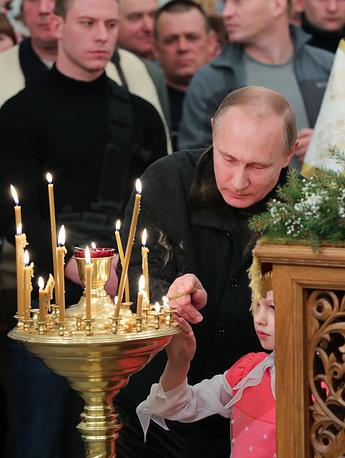 Russian President Putin attends Christmas liturgy in Veliky Novgorod