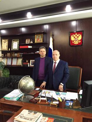 Николай Малинов с председателя на Комитета по развитие на гражданското общество и въпросите на обществените и религиозните обединения в руската Държавна дума Сергей Гаврилов.
