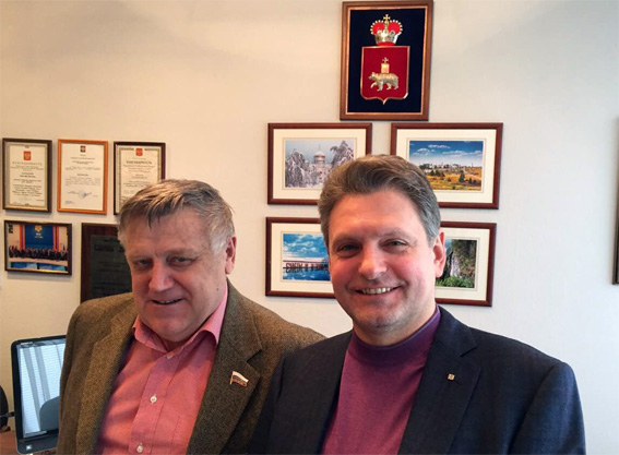 Дружеска среща на Николай Малинов с председателя на групата за приятелство с България в руската Държавна дума Александър Василенко.