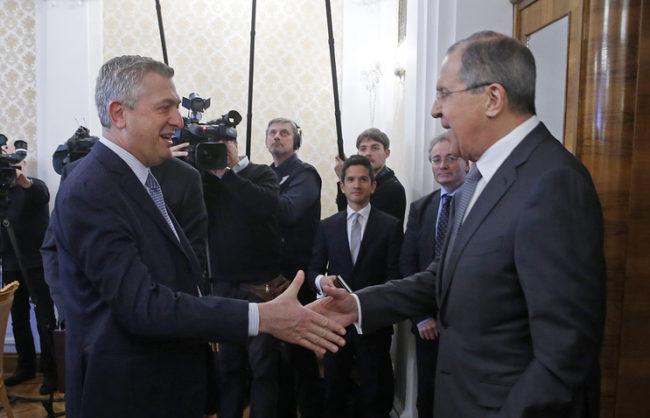 Филиппо Гранди и Сергей Лавров. Москва, 22 февруари © EPA/SERGEI CHIRIKOV