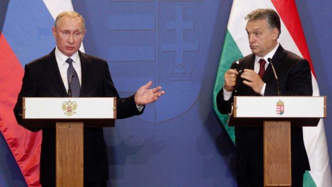 Путин и Орбан по време на съвместната им пресконференция. / БГНЕС