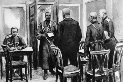 Николай II, последният император на Русия (1868-1918), чете акта за отказ от престола в Царское село. Илюстрация на сцената от 15 март 1917 г. Снимка: Getty Images