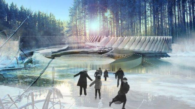 Може ли ледена пързалка да се превръща в соларно лятно кино под PV навес?