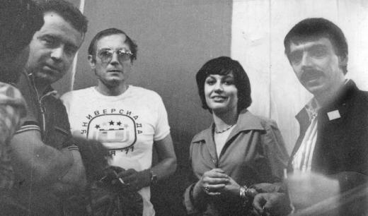 От дясно наляво Росен Босев, Милена Йоич,Евтушенко и Любен Георгиев в Москва
