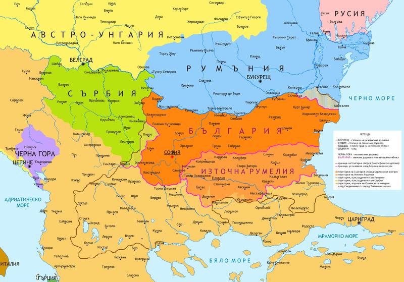 България след Берлински конгрес. Карта: wikipedia