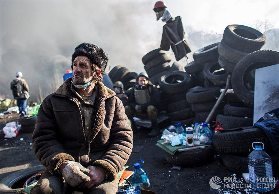 Привърженик на радикалната опозиция по време на майдана.