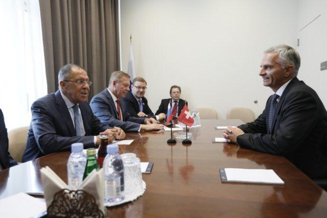 Външните министри на Русия и Швейцария се срещнаха в Ню Йорк