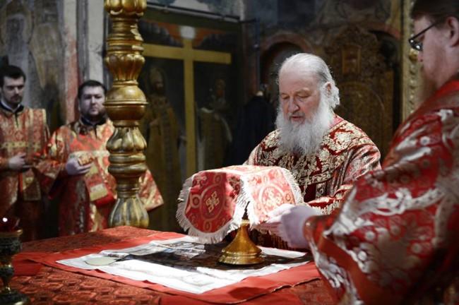 Патриарх Кирил подари на руските спортисти икона на  Св. преп. Сергий Радонежски
