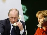 Путин обсъди с Меркел ситуацията с украинските бежанци