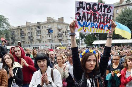 """""""Киев, събуди се!"""": протестиращи блокираха  Крешчатик"""