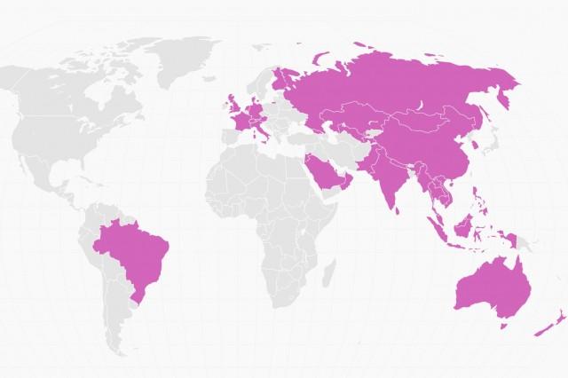Страните в лилаво са се присъединили или са кандидатствали за членство в Asian Infrastructure Investment Bank (AIIB). Източник: Quartz / Investor