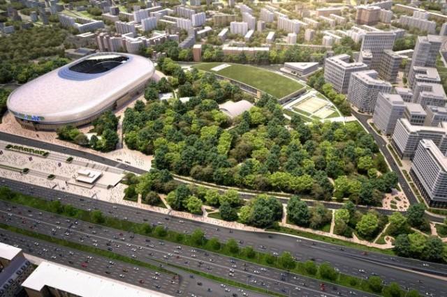 """Така ще изглежда комплексът с новия стадион на """"Динамо"""", залата, парка и многофункционалните сгради. Снимка: vtb-arena.com"""