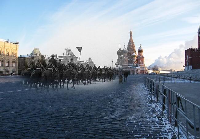 Москва, 1941-2020. Парадът на 7 ноември 1941 г. Войниците заминават за фронта. Фото: Сергей Ларенков