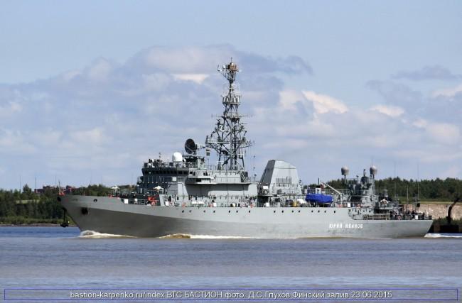 """Към днешна дата """"Юрий Иванов"""" е най-големият разузнавателен кораб в руския флот. С дължина от 95 метра и ширина 16 метра, с водоизместимост от 4 000 тона и оборудване с изключително мощни средства за електронна обработка на разузнавателни данни."""
