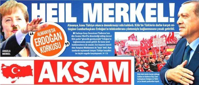 Турски вестник публикува снимка на Меркел в образа на Хитлер