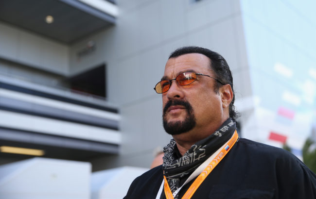 SOCHI, RUSSIA - OCTOBER 11:  Actor Steven Seagal  attends qualifying ahead of the Russian Formula One Grand Prix at Sochi Autodrom on October 11, 2014 in Sochi, Russia.  (Photo by Clive Mason/Getty Images)