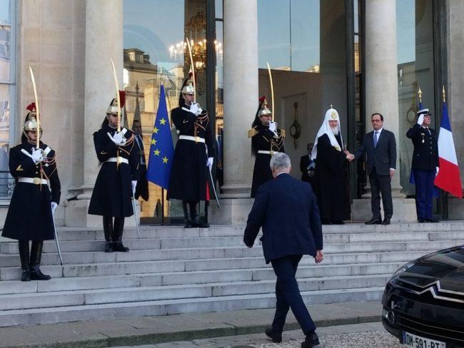 Франсоа Оланд прие руския патриарх Кирил в Елисейския дворец (видео)