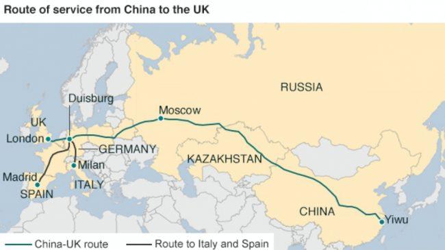 Директният китайски влак достигна Лондон