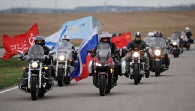 """""""Нощните вълци"""" – от Луганск до Берлин със знамената на Народните републики (видео)"""